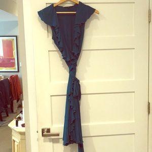 Diane von Furstenberg teal ruffled wrap dress